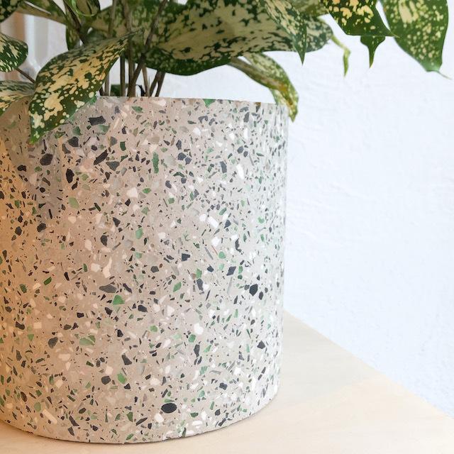 """Cement flower pot cover /FARM""""Marta"""" 鉢カバー(Light gray) φ17cm×H16cm"""