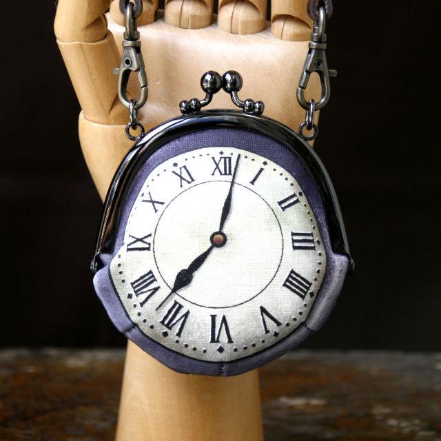 【即納】時計がま口 持ち手つきコインケース ローマ数字銀時計 - 金星灯百貨店