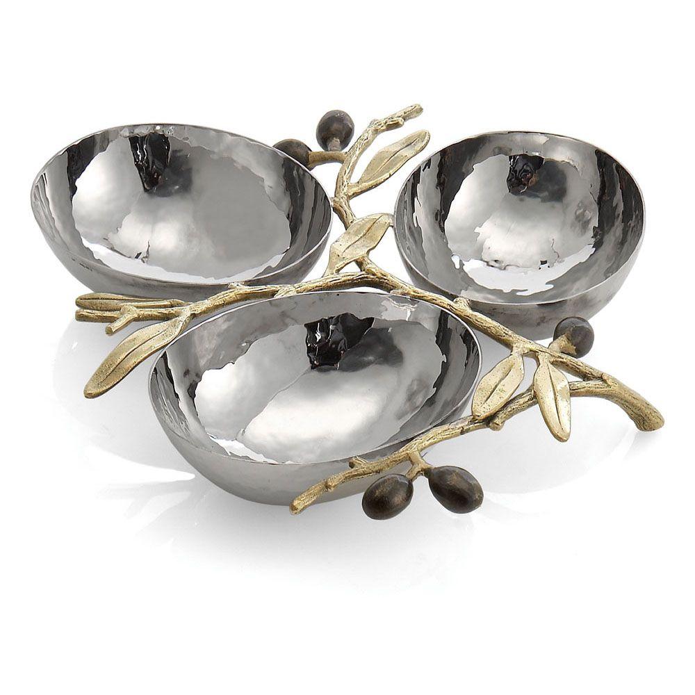 Michael Aram Olive Branch 3-Compartment Dish(マイケルアラム オリーブブランチ 3コンパートメントデッシュ) / 175126