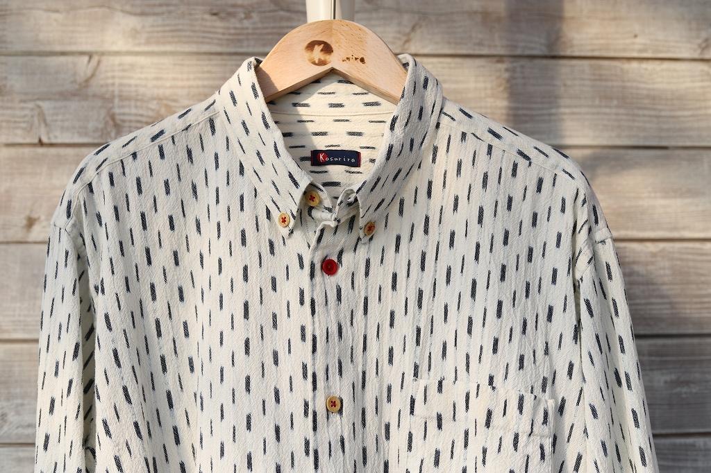 ボタンダウンシャツ(メンズ)SHI藍染楊柳白絣 K80