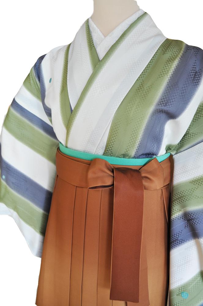 卒業式袴レンタル!茶ぼかしの袴&『嵐山よしむらパーティー着物』生成り、黄緑、グレーの縞柄に青水玉ladies'hakama6[往復送料無料] - 画像3