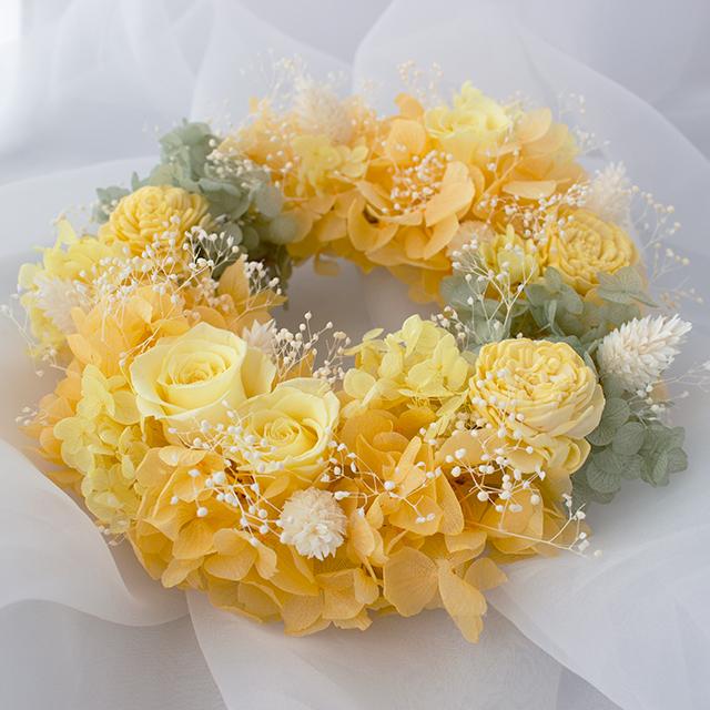 【送料無料】プリザーブドフラワーリース オレンジ×グリーン  Sサイズ