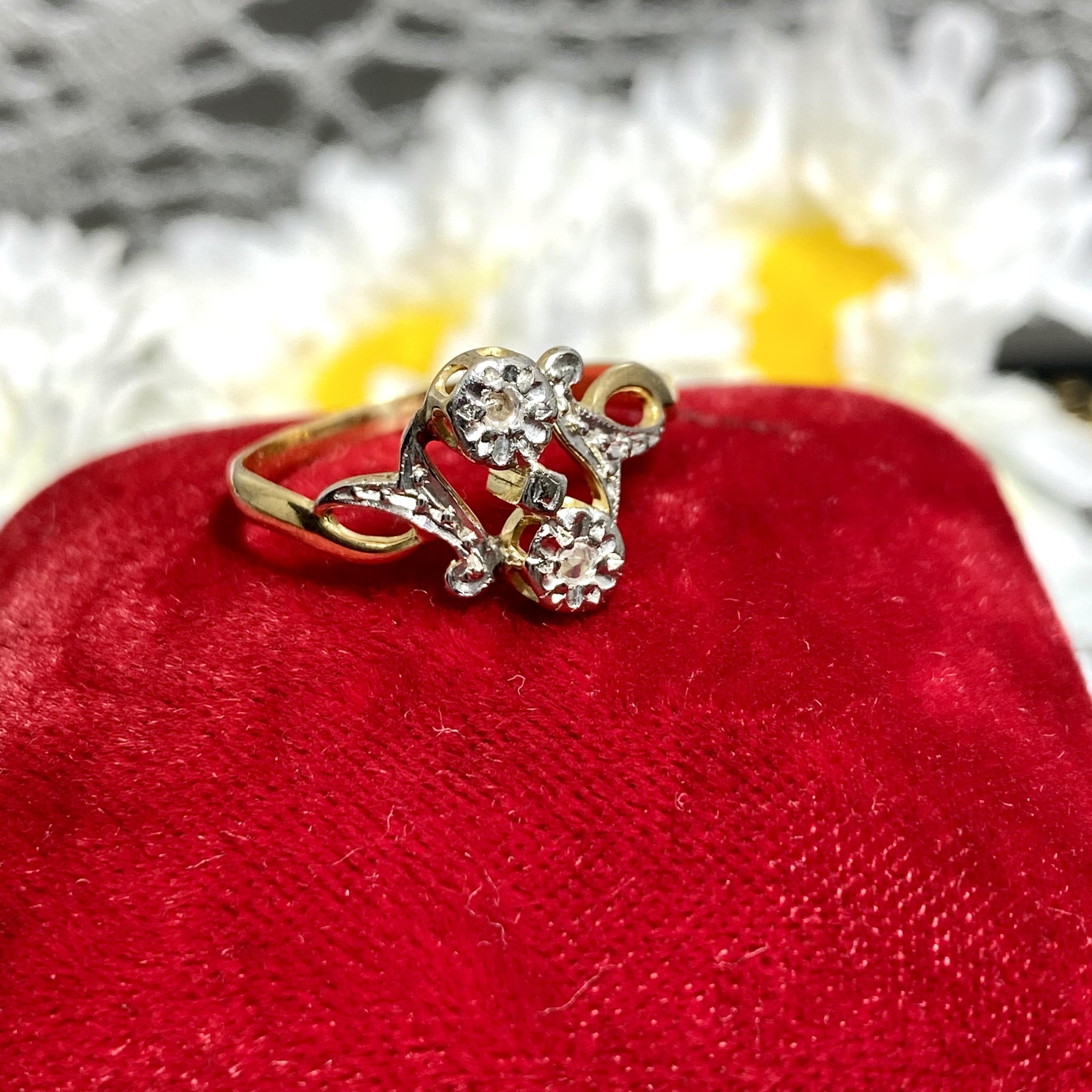 フランスアンティークリング★トワエモアあなたと私★鷹k18★oldローズカットダイヤモンド