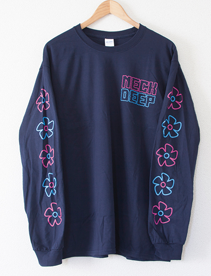 【NECK DEEP】Flower Icons Long Sleeve (Navy)