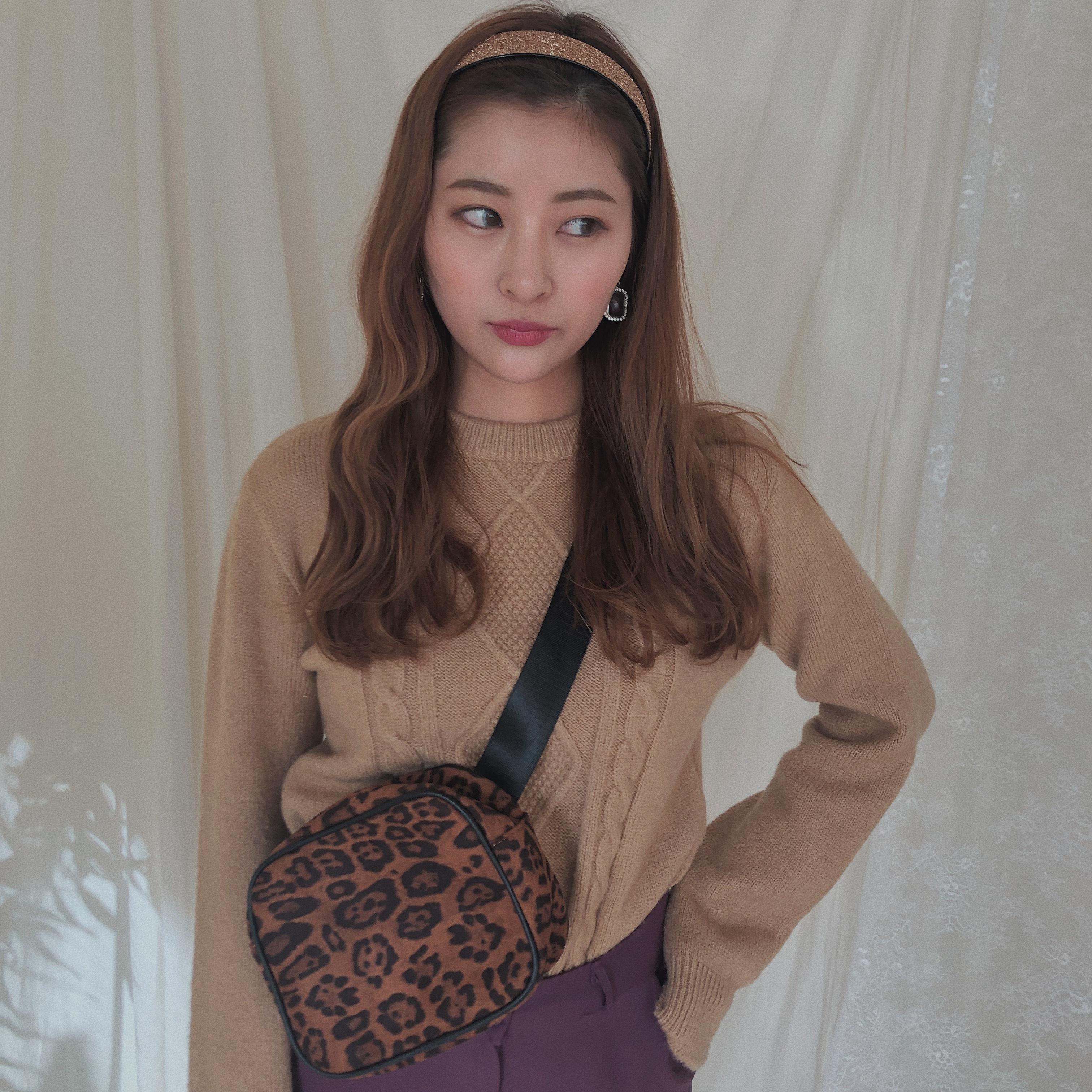 ♡leopard shoulder bag