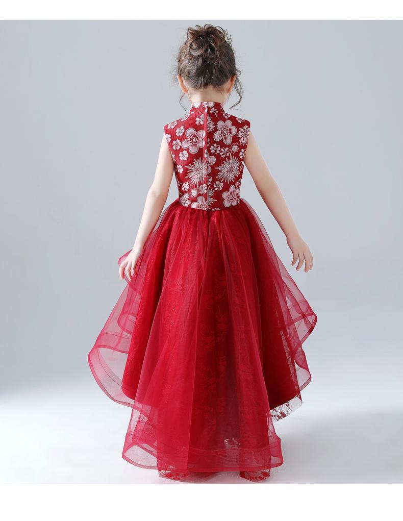 b8b29a08aad7c 女の子ドレス スタンドネック ノースリーブ ワンピース 子どもドレス 花童 発表会 演奏会 結婚式 レッド 110cm 120cm 130cm  140cm 150cm 160cm