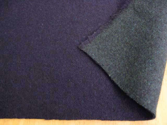 アンゴラ混二重織リバーシブル両面起毛 マリーン+グリーン UR-0123