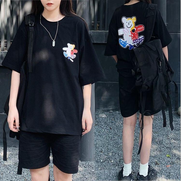 ユニセックス Tシャツ 半袖 メンズ レディース 落書き風 クマちゃん ベアー プリント オーバーサイズ 大きいサイズ ルーズ ストリート