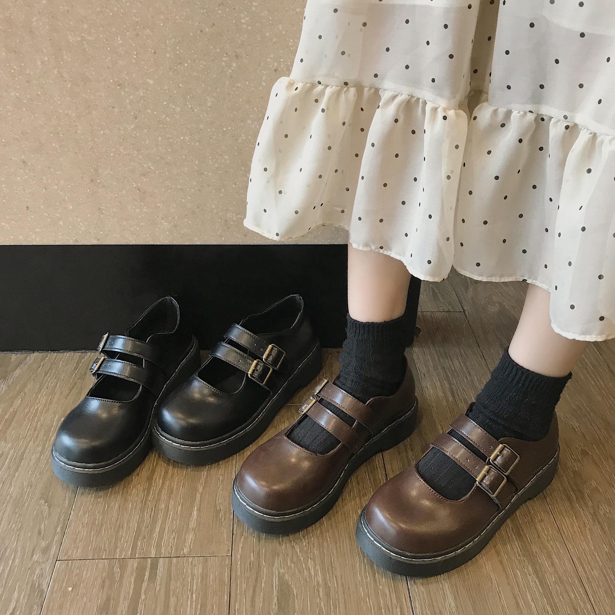 【送料無料】 レトロシューズ♡  ステッチシューズ ローヒール パンプス