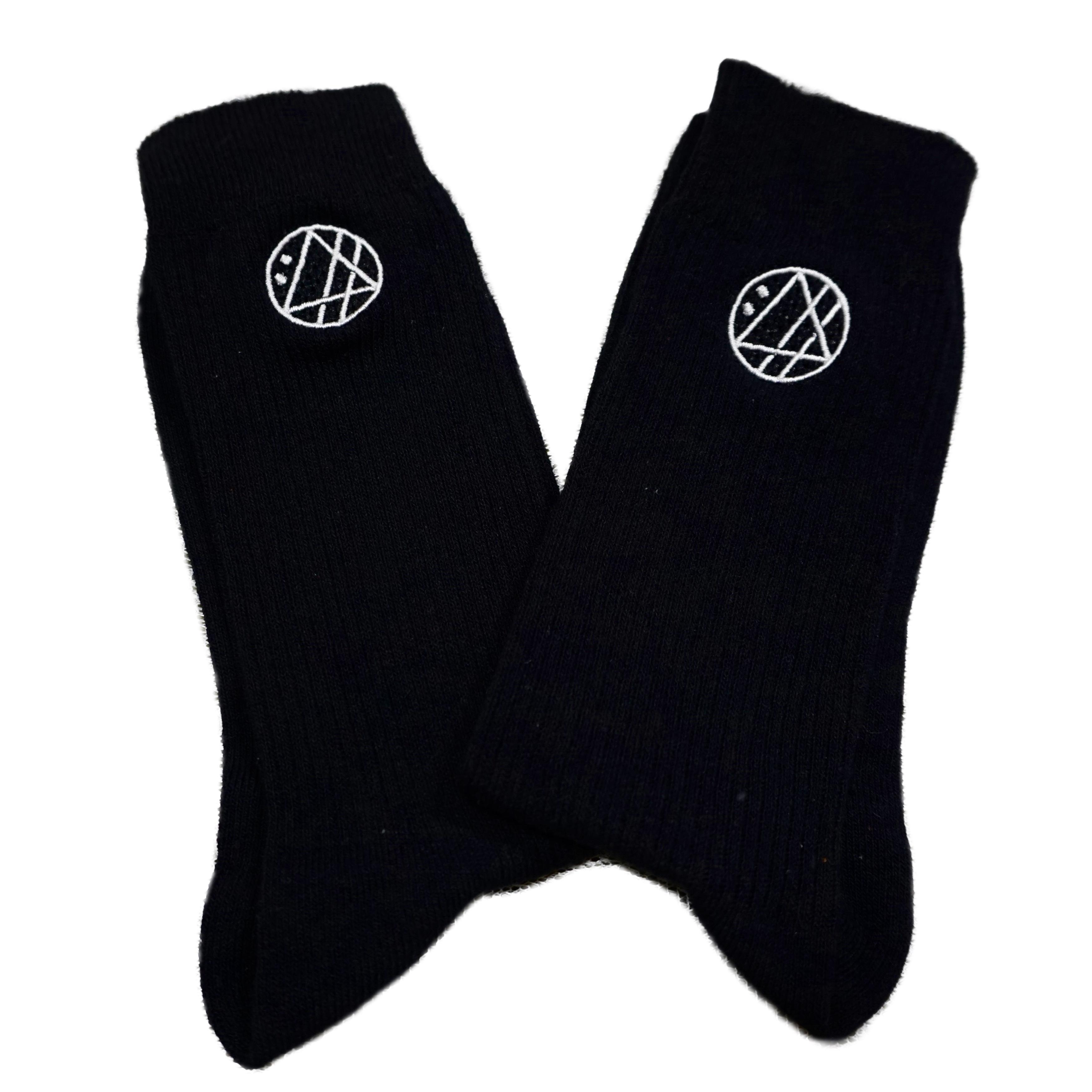 丸ロゴ刺繍ソックス (ブラック) - 画像2