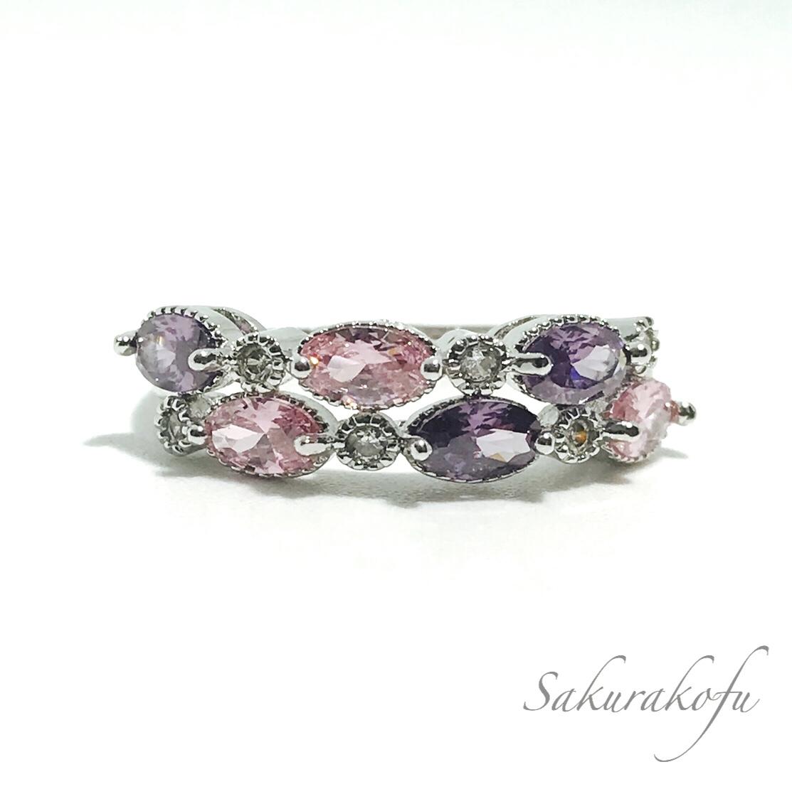 D001 送料無料 レディース 指輪 アクセサリー ピンク パープル Amethyst Pinksapphire Ring