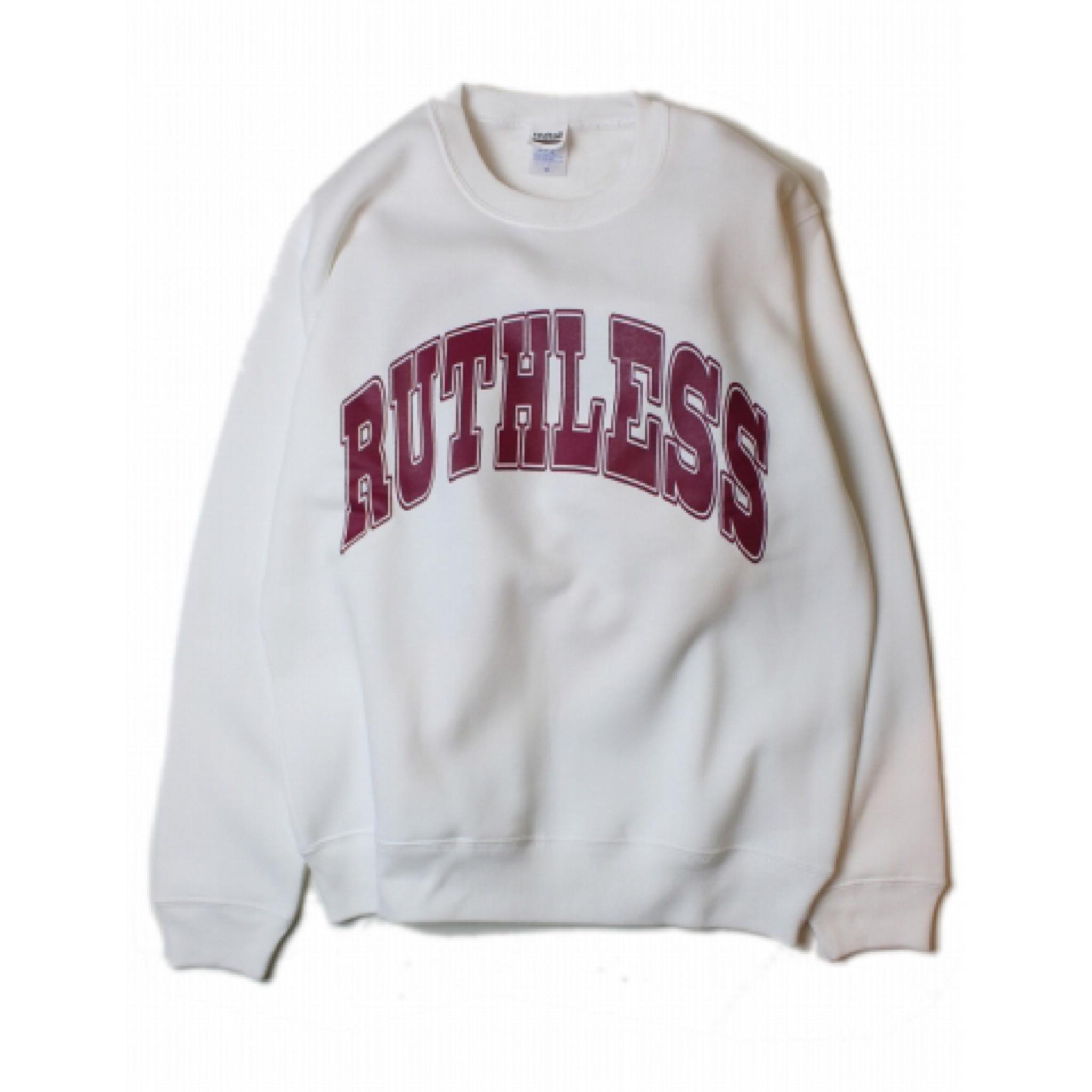 RUTHLESS #College Logo Crew Neck Sweat White