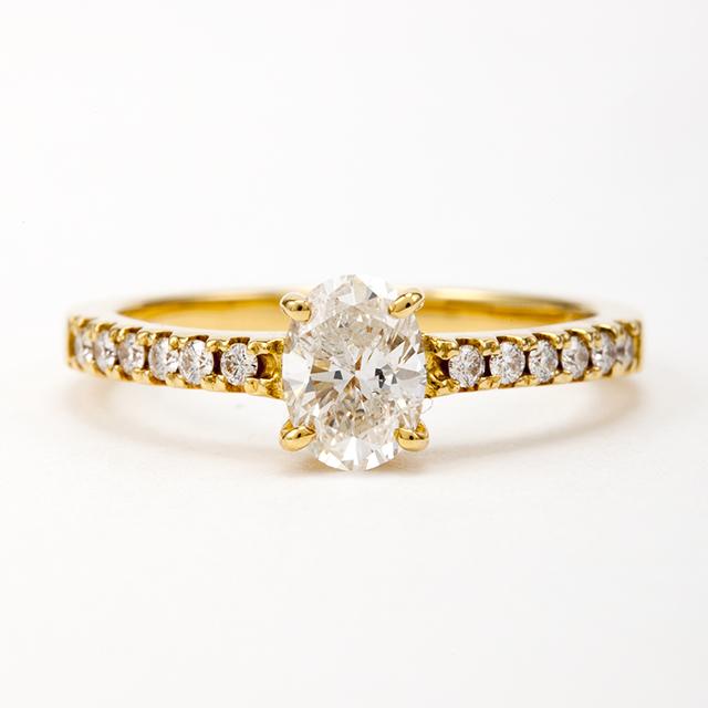 オーバルカット ダイヤモンド リング 0.515ct  K18イエローゴールド  チェカ 鑑別書付