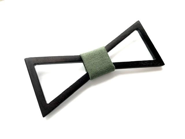 木製 蝶ネクタイ #Triangle moss green - 画像2