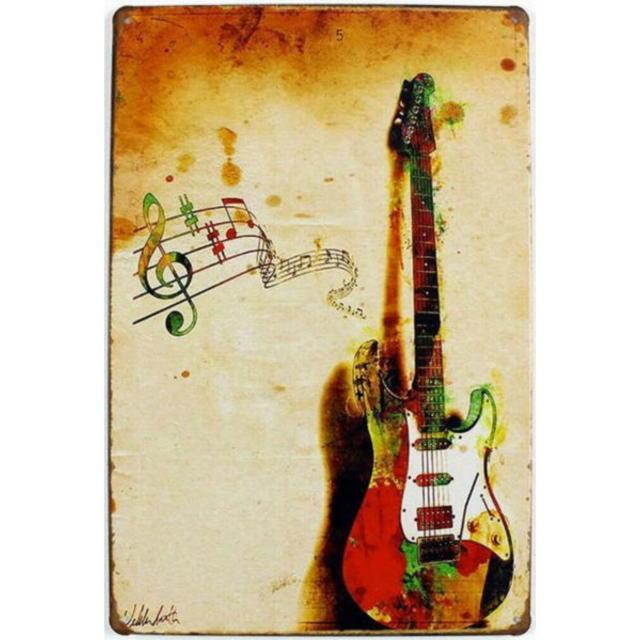 【ブリキ看板】エレキギター 小型版[A62515]