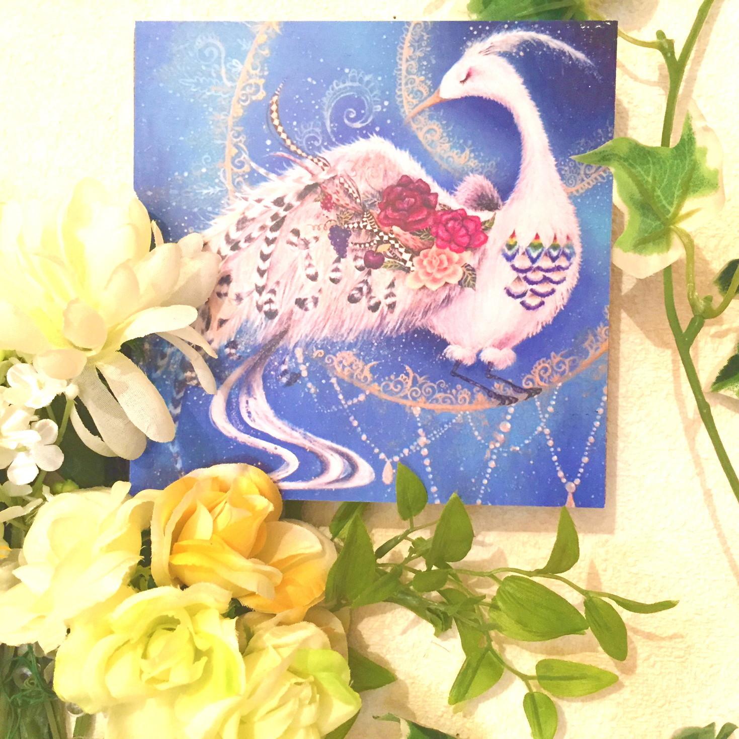 絵画 絵 ピクチャー 縁起画 モダン シェアハウス アートパネル アート art 14cm×14cm 一人暮らし 送料無料 インテリア 雑貨 壁掛け 置物 おしゃれ 白鳥 動物 アニマル 油絵 ロココロ 画家 : 黒野 祥絵 作品 : 鳥