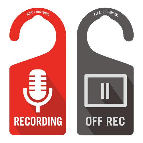 RECODING(レコーディング中)裏面OFF REC[1055] 【全国送料無料】 ドアノブ ドアプレート メッセージプレート