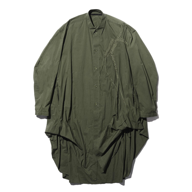 737SHM6-GREEN / 刺繍 ロングシャツ