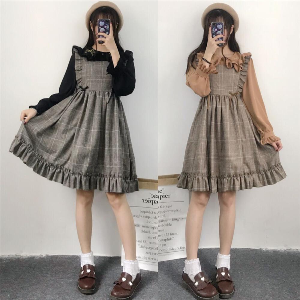 【dress】ガーリー系チェック柄膝上ラウンドネックカジュアルワンピ17689674