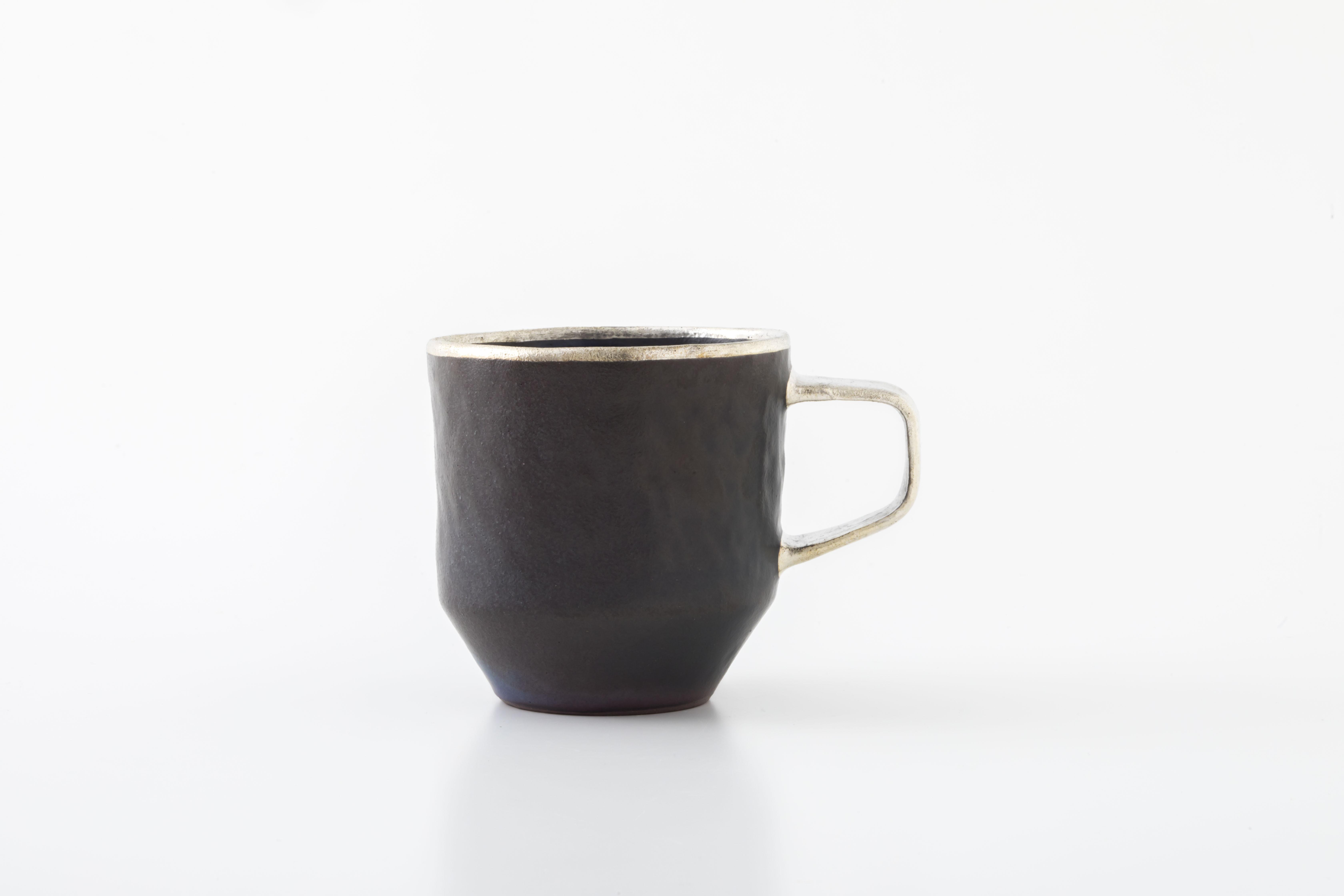 stacking mug:銀縁×銀取手(02-2) / holk store × 中囿義光