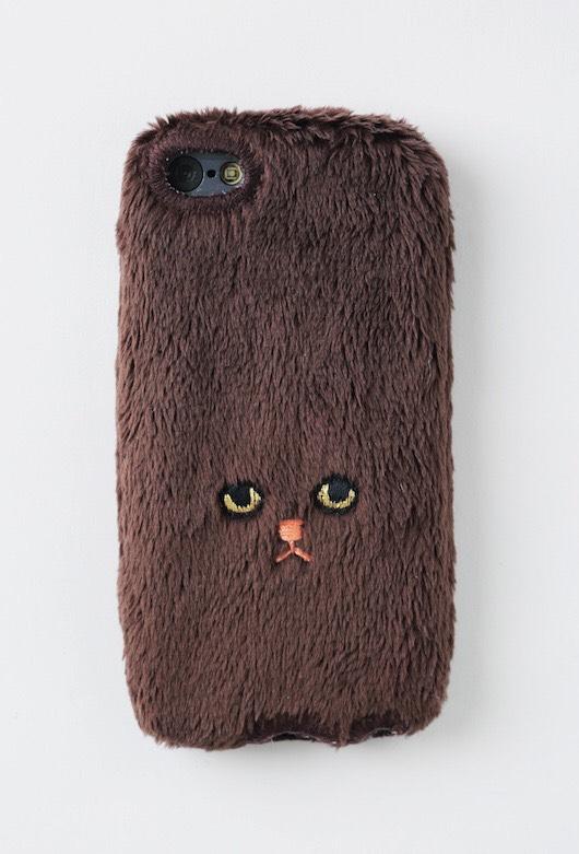 ネコiPhone5/5c/5sカバー 【ブラウン】