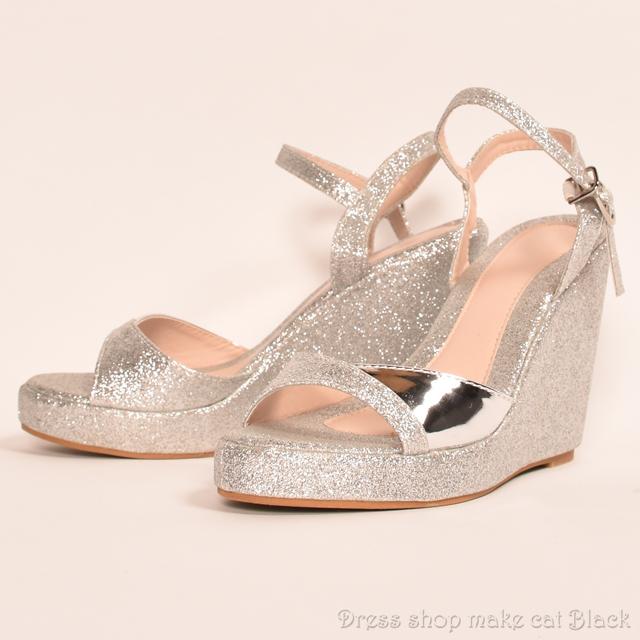 SALE!! 11cmヒール サイズ豊富 シルバーラメ ウェッジソール  ma-7508 ドレス 結婚式 パーティー お呼ばれ