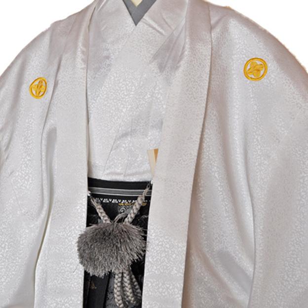 レンタル男性用shishi01【紋付袴】白地着物に牡丹刺繍の羽織と獅子の袴フルセット[往復送料無料] - 画像1