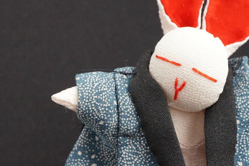 着物、和服の古布人形「どてらうさぎ」 - 画像1