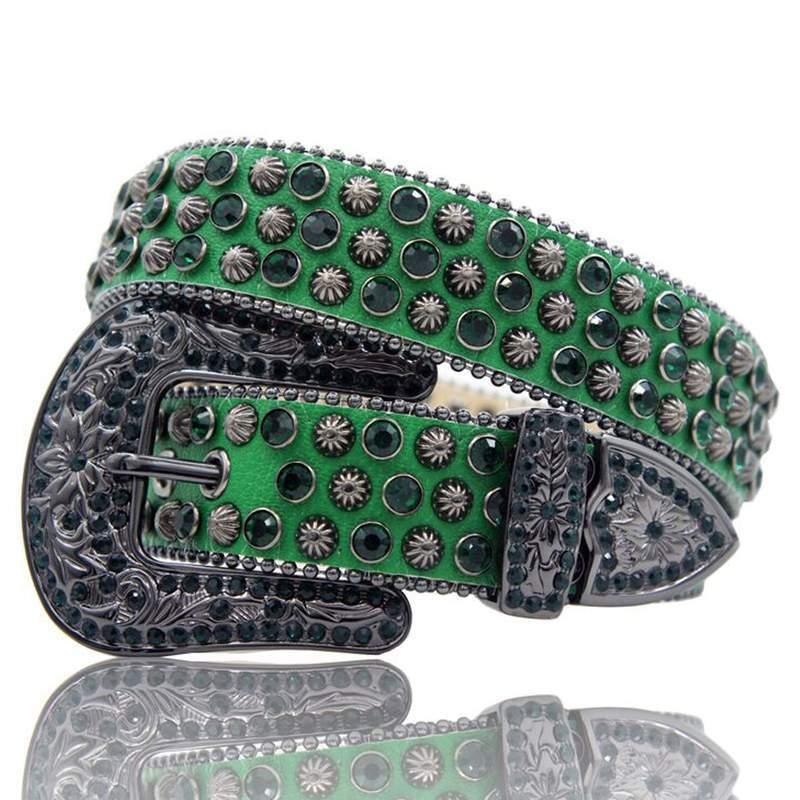 HERMETIC Crystal Leather Belt GREEN