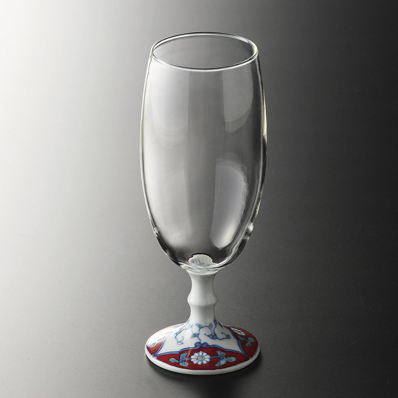ビールグラス (赤濃唐草) 20-407