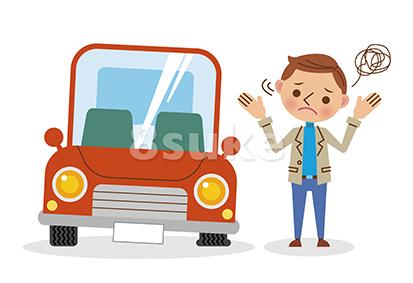 イラスト素材:パンクした車と困っている男性(ベクター・JPG)