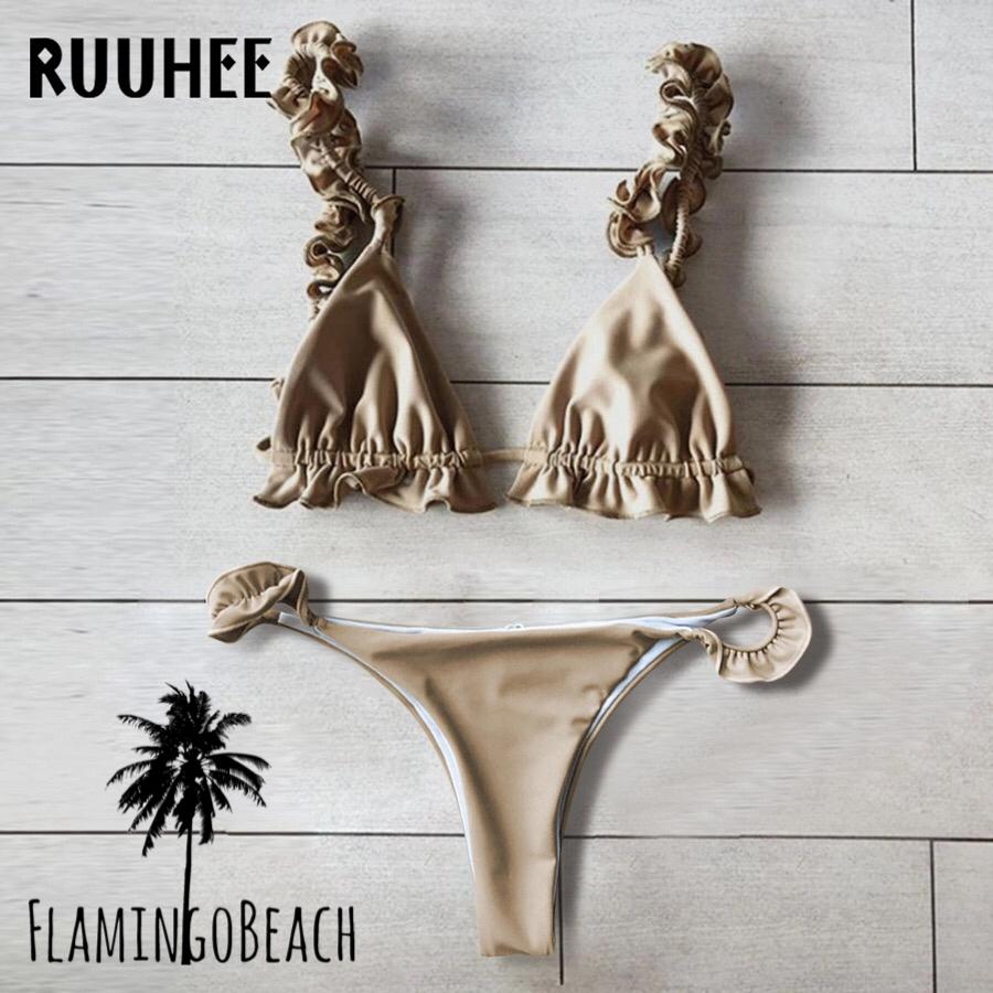 【FlamingoBeach】beige furil bikini ビキニ