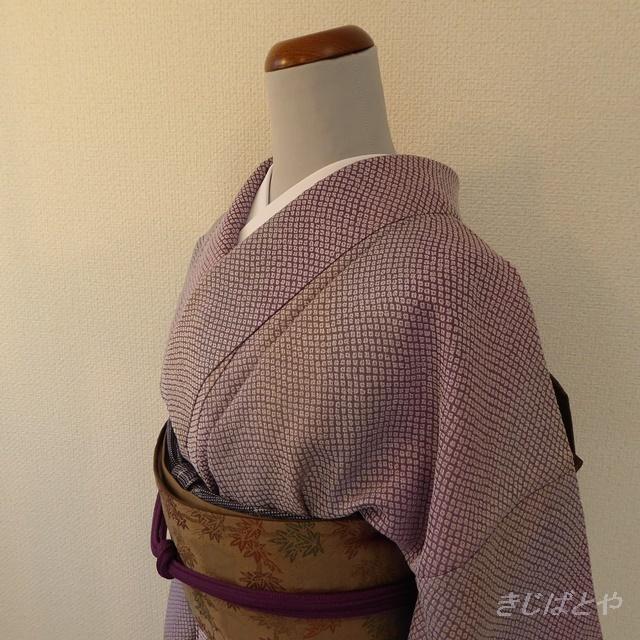正絹 渋い紫のぼかしの小紋 袷