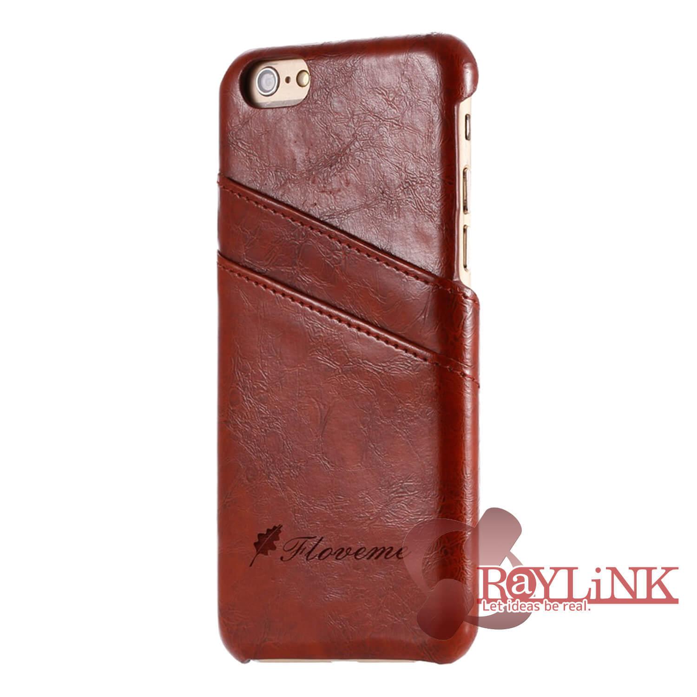 【スマホケース】iPhone7Plus用レザーケース カード入れ付き ブラウン