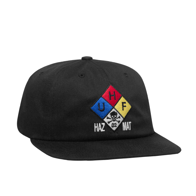 HUF ハフ HAZARD 6 PANEL HAT BLACK