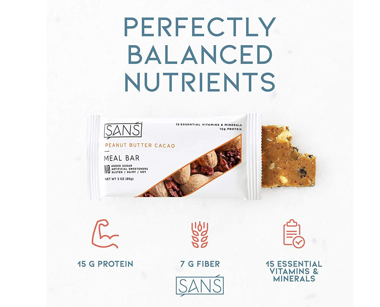 SANS オールナチュラルプロテインバー Peanut Butter Cacao 6袋セット