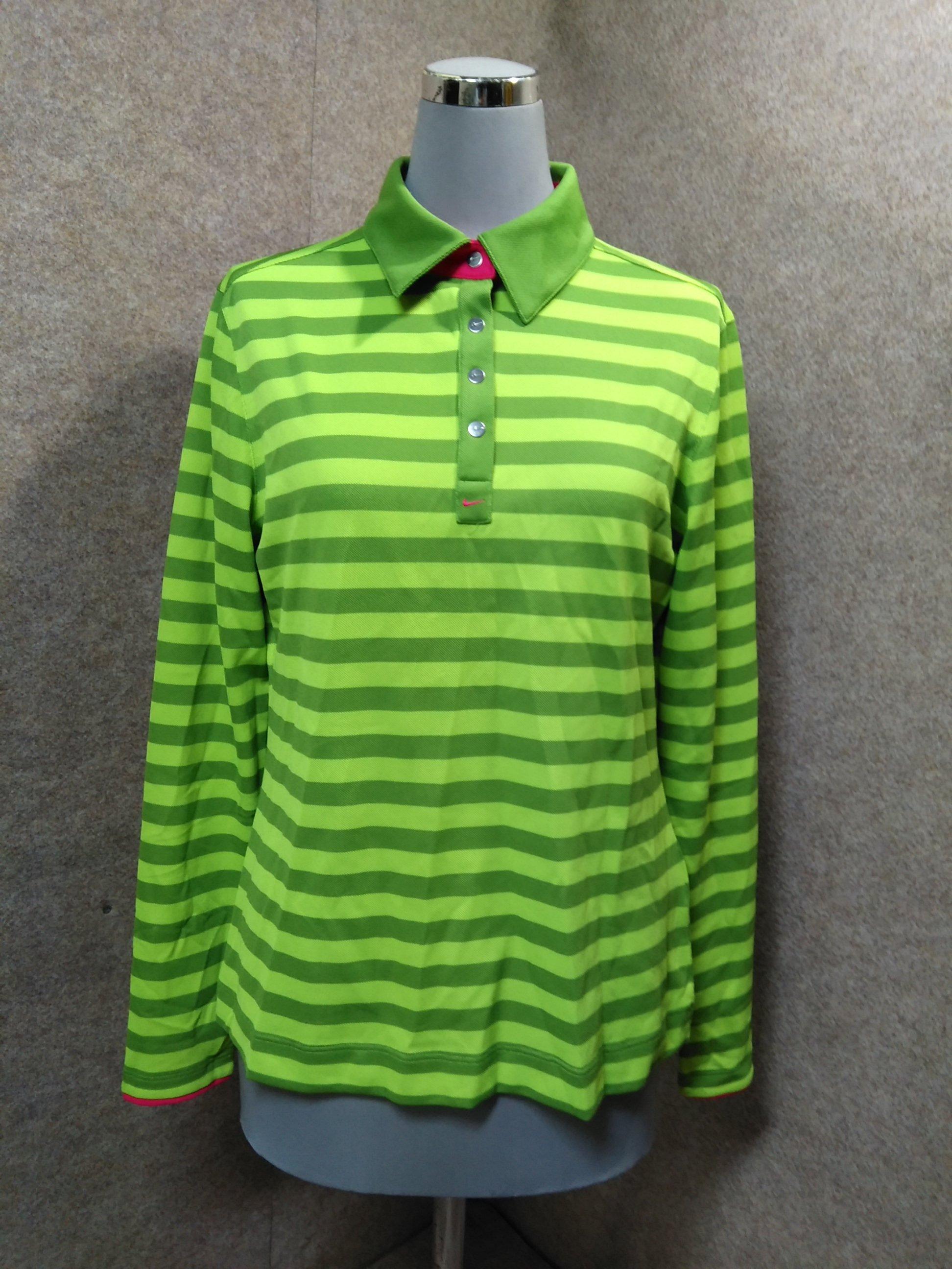 NIKE ナイキ ゴルフ ポロシャツ 長袖 L 緑 ボーダー mu361s