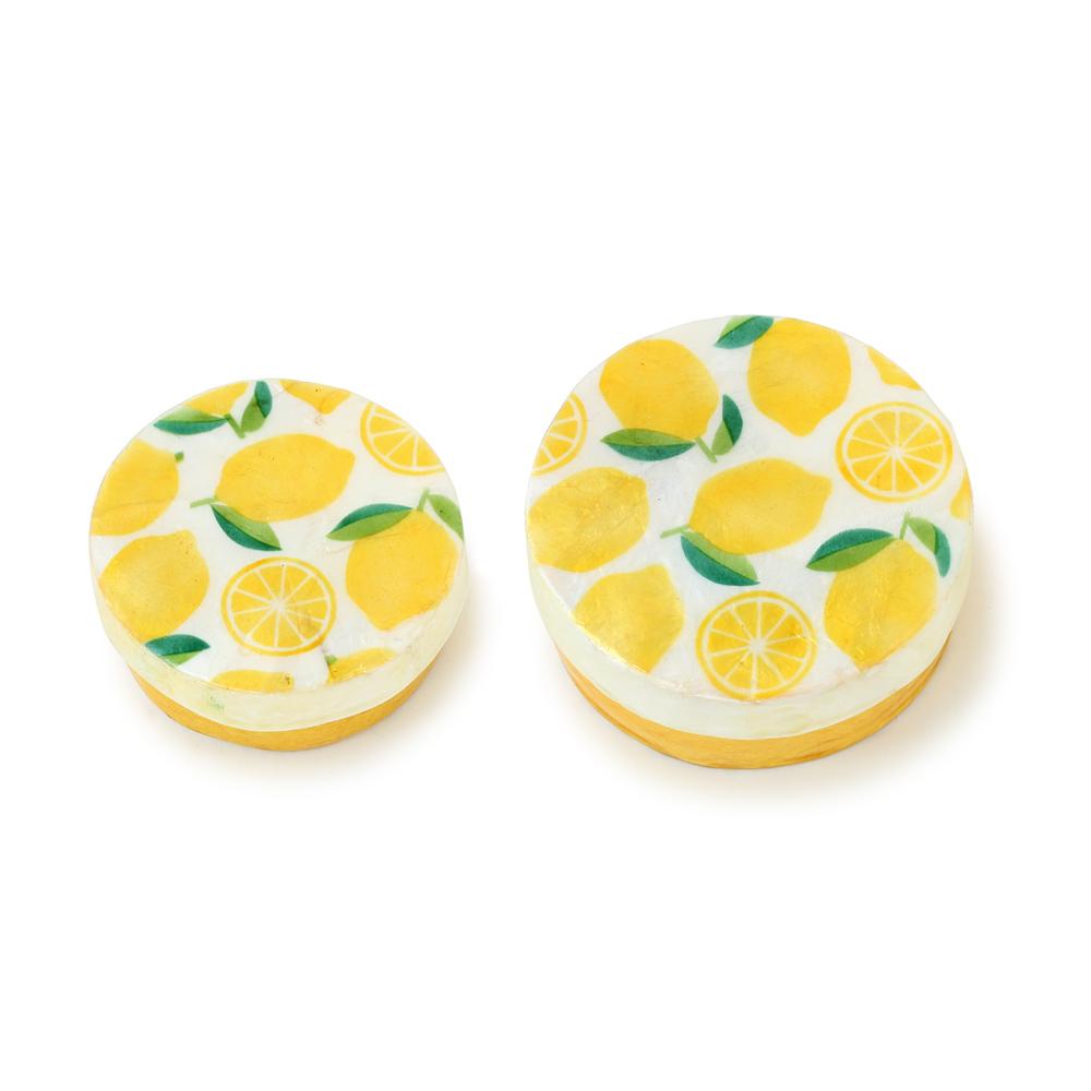 カピス貝ラウンドケース・レモン