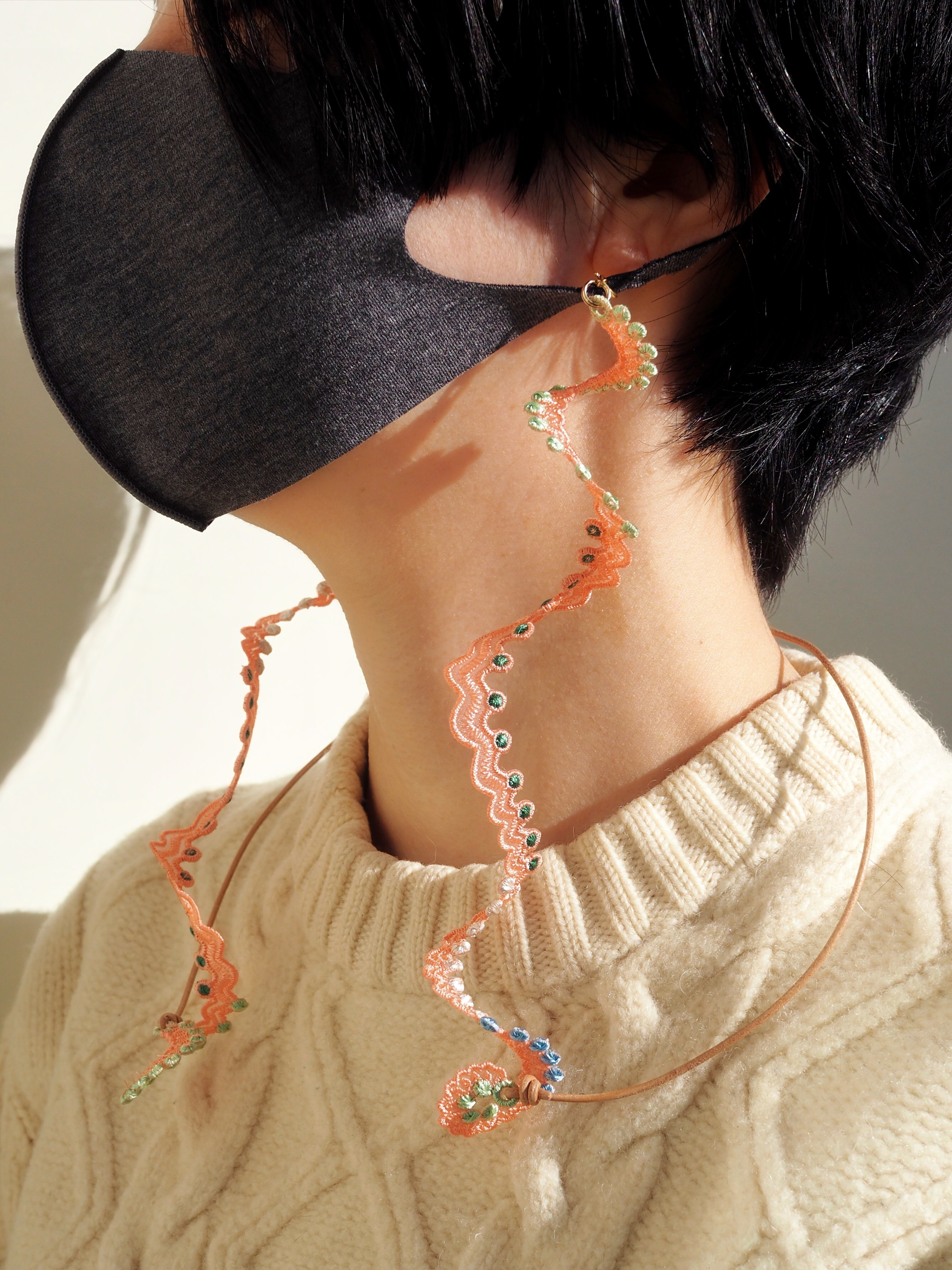 ARRO / Embroidery mask strap / WHORLS / PINK