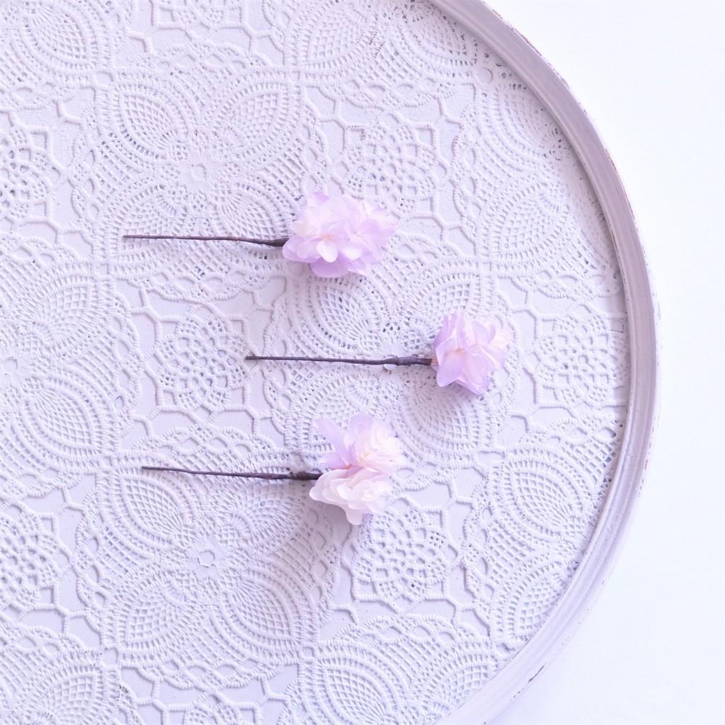 〖 ホワイトパープル・柏葉アジサイのヘッドドレスパーツ3点 〗お好きなプリザ花材をカスタムメイドでお作り致します