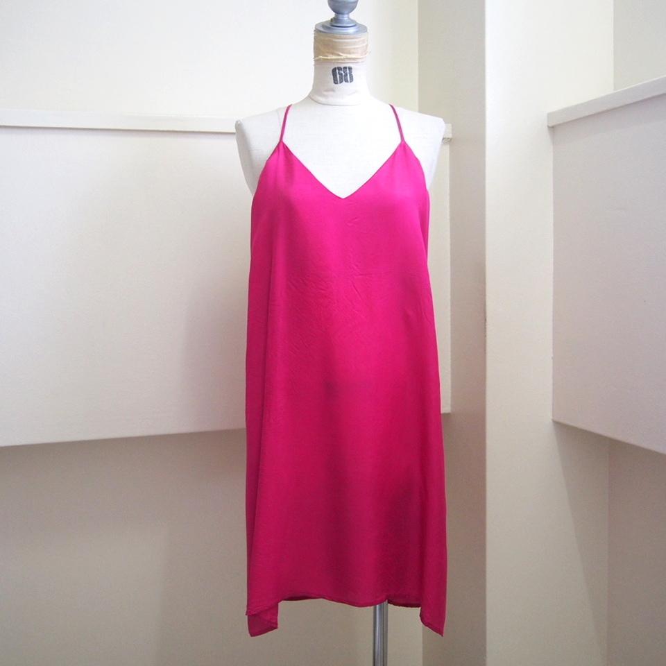 【hippiness】cupro  Vneck semi long camisole(pink) /【ヒッピネス】キュプラVネックセミロングキャミソール(ピンク)