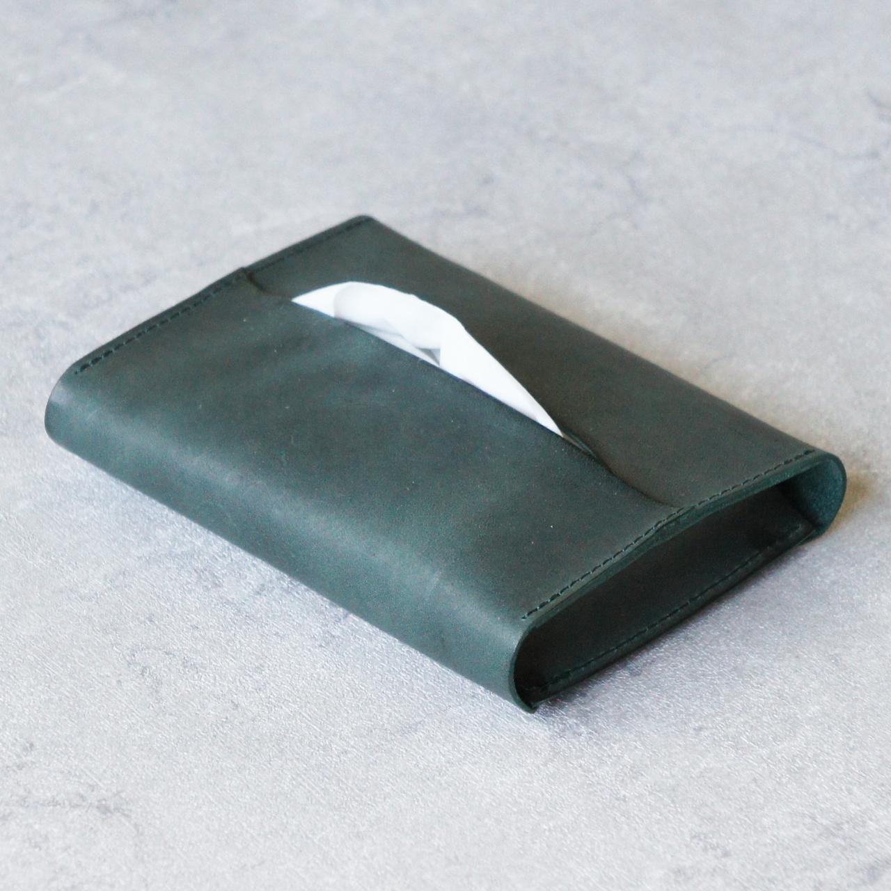 卓上本革ポケットティッシュケース【グリーン】(ティッシュ2個収納可)