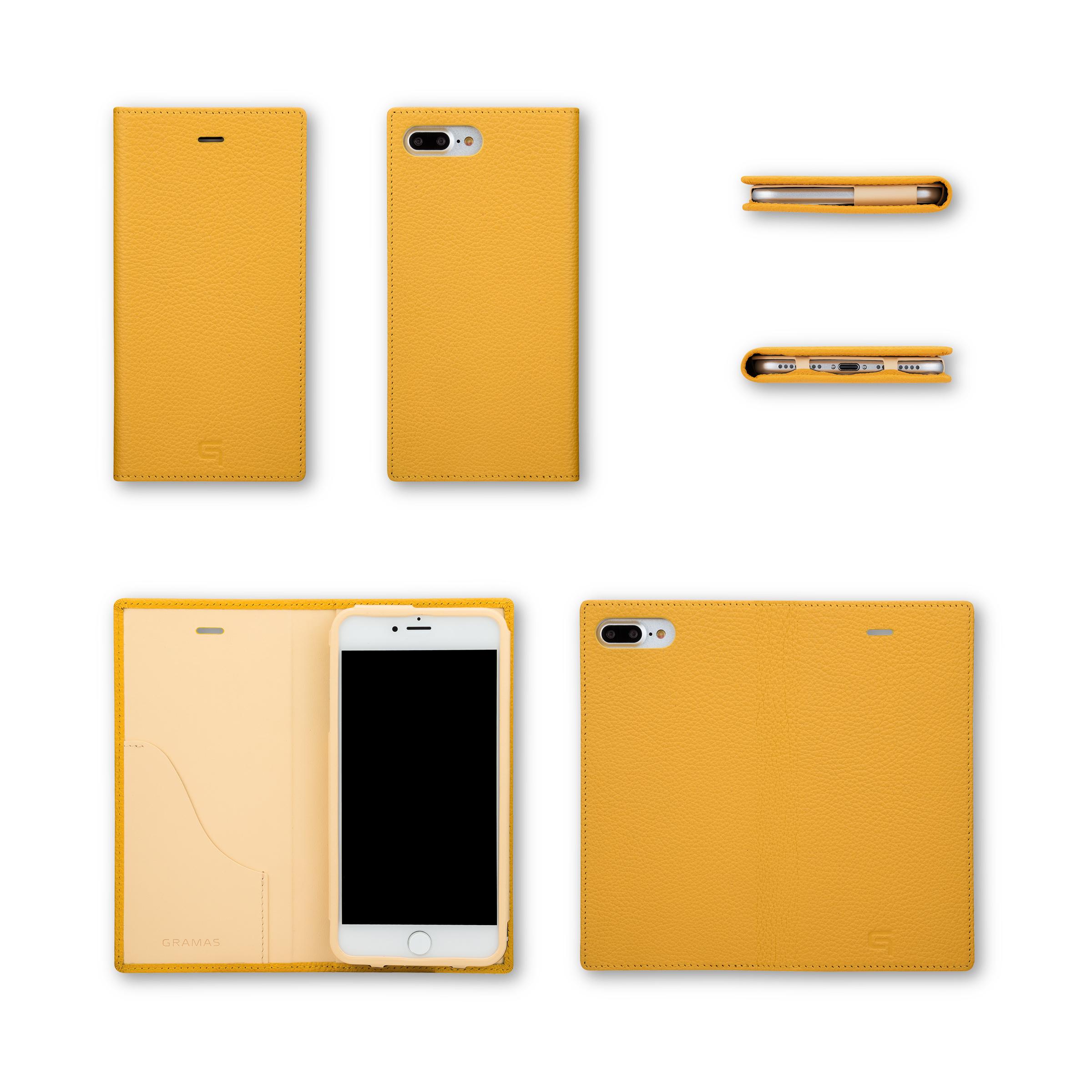 GRAMAS Shrunken-calf Full Leather Case for iPhone 7 Plus(Yellow) シュランケンカーフ 手帳型フルレザーケース - 画像5