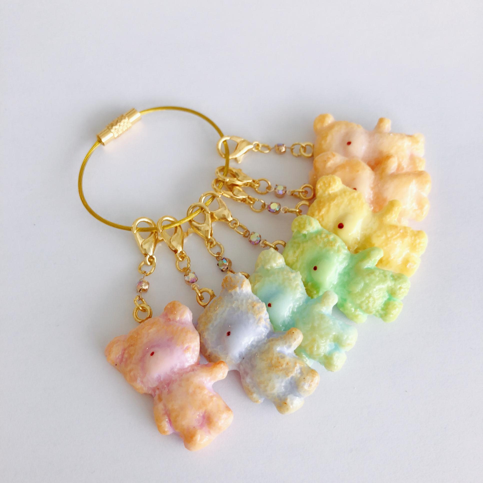 【Puryun】虹色くまさんクッキーチャームキーリングp12-001