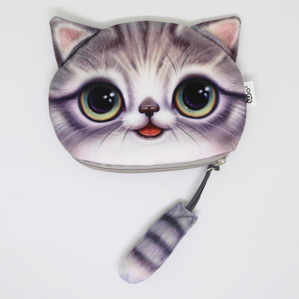 猫しっぽポーチコインケース(猫顔としっぽ)サバトラ