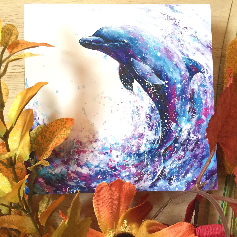 絵画 インテリア アートパネル 雑貨 壁掛け 置物 おしゃれ 水彩画 イルカ 動物 ロココロ 画家 : 平田幸大 作品 : 飛躍