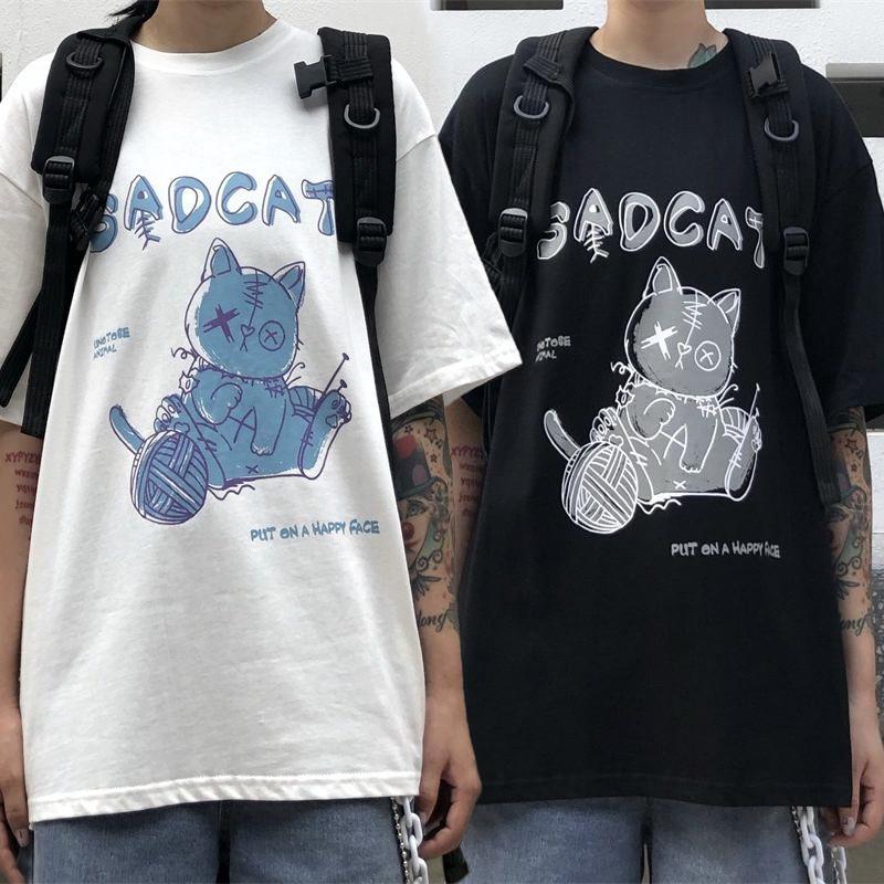 ユニセックス Tシャツ 半袖 メンズ レディース ラウンドネック ネコちゃん CAT プリント オーバーサイズ 大きいサイズ ルーズ ストリート