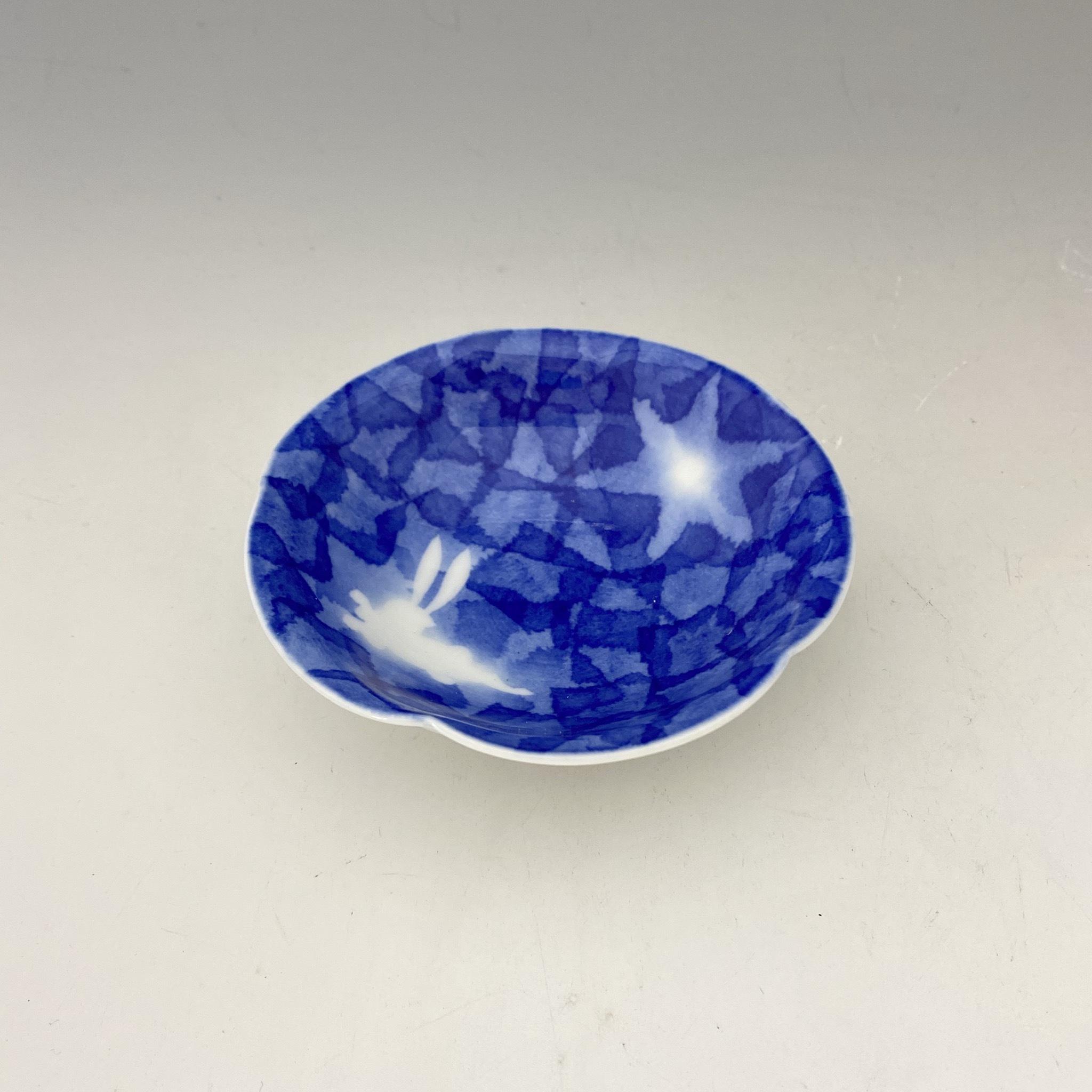 【中尾英純】和紙染兎ぼかし文豆皿