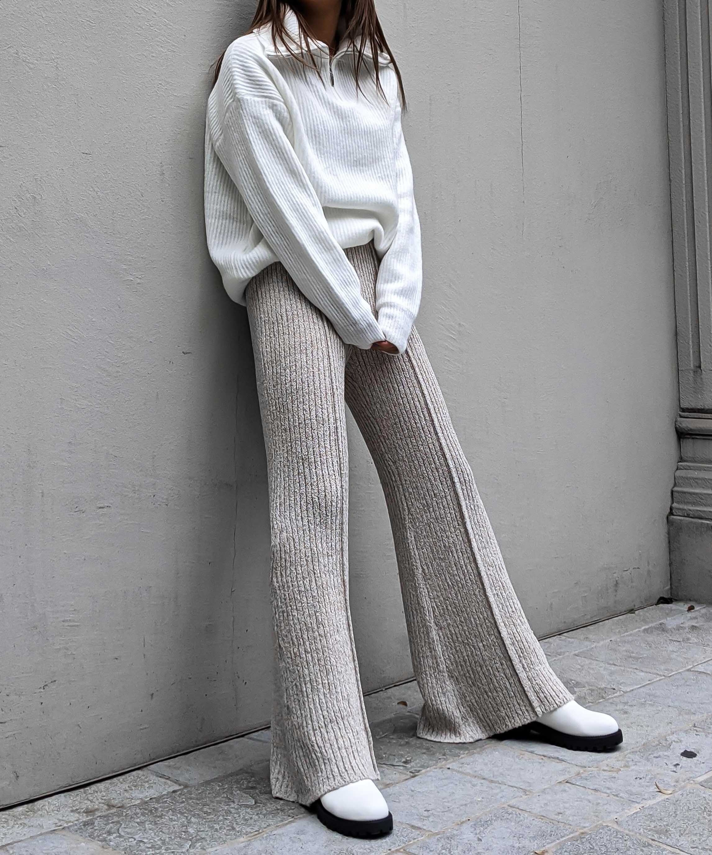 Mix knit relax pants