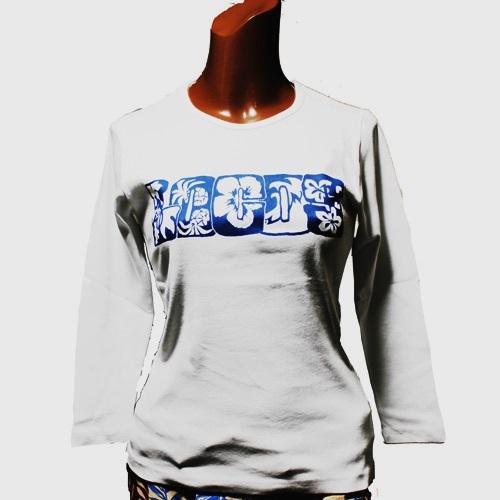 APPLE HOUSE / ZA TOKYO  100%made in Japan.ソフトフィットでシンプルなクルーネック・ハワイアンデザインの八分袖クルーネックTシャツ(LOCOS) No.134284